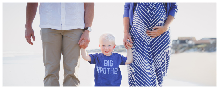 proud big brother and maternity topsail beach photography