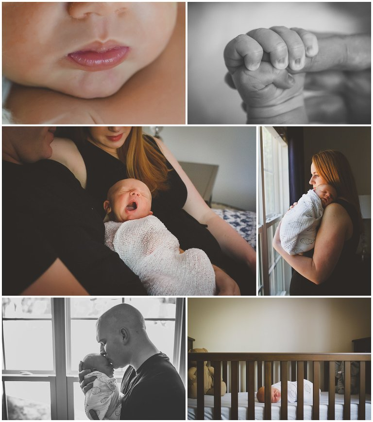 Detail photos of a newborn at home with his parents