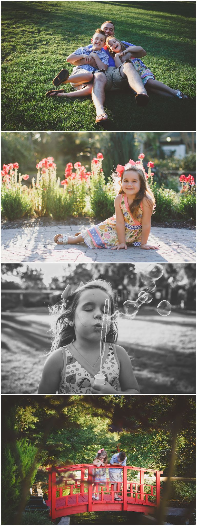 little girl in garden at the new hanover arboretum in wilmington nc