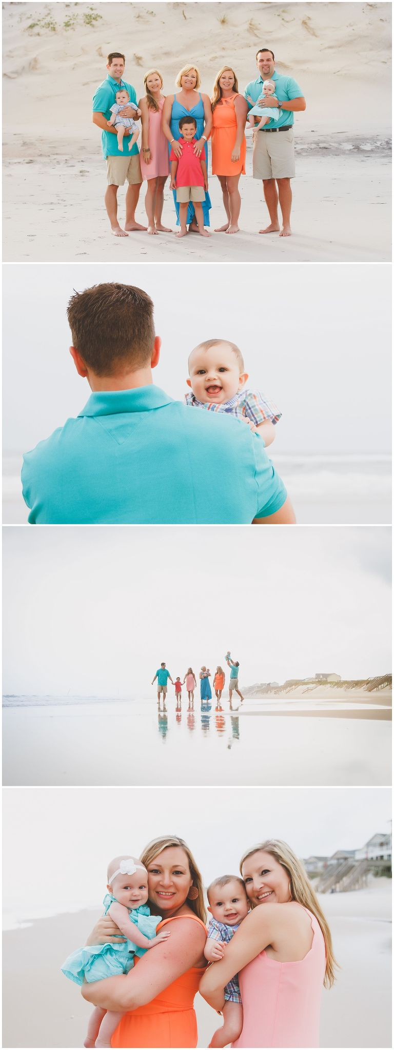 colorful family photos at the beach in north carolina