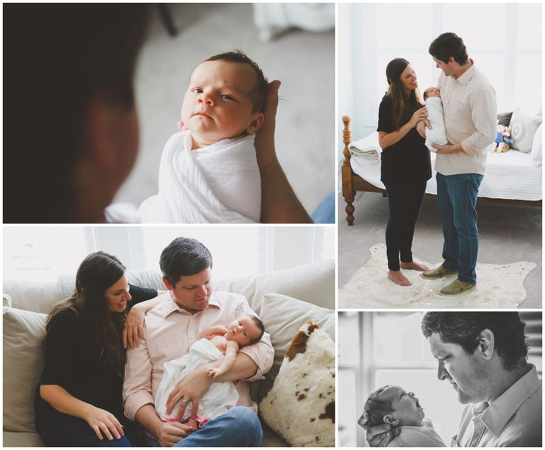 in-home newborn photos with family in nc