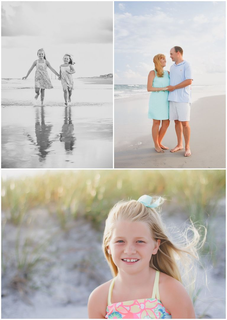 Family and kids at Topsail Beach for photos